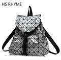 HS RHYME Women Diamond Geometric Lattice Backpack Folded Patchwork Bag Drawstring Mochila Sac A Dos
