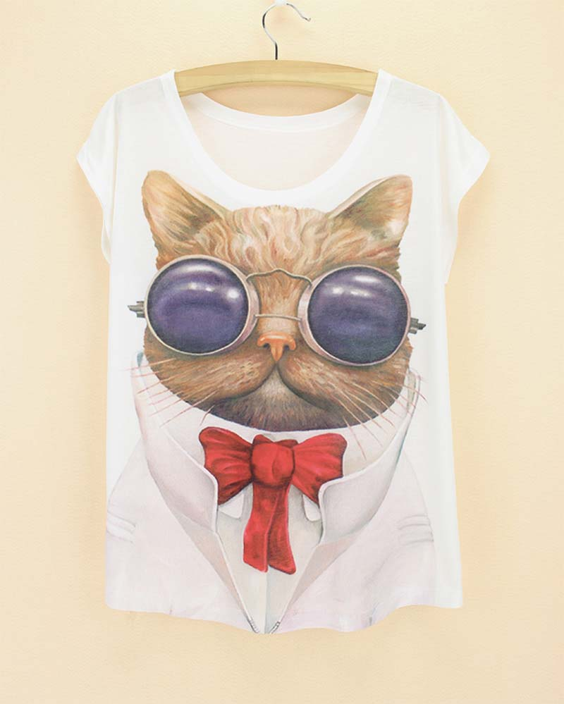 line Shop 3D Cat print tees for women 2016 the Western fashion