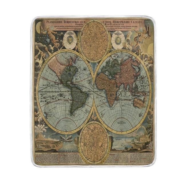 Vintage world map blanket soft warm cozy bed couch lightweight vintage world map blanket soft warm cozy bed couch lightweight polyester microfiber blankets throw for winter gumiabroncs Image collections