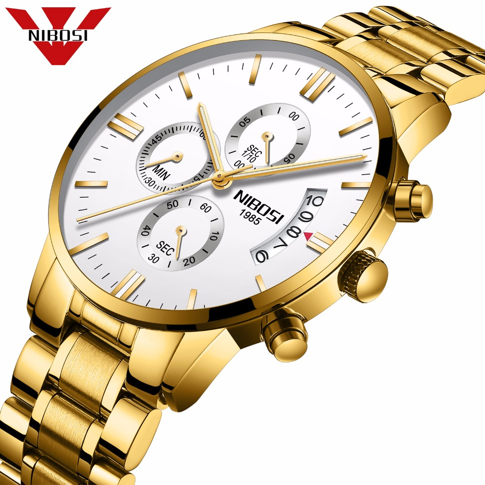 NIBOSI Men Watches Luxury Top Brand Men Gold Watch Relogio Masculino Military Army Analog Quartz Wristwatch
