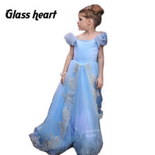 Ankle-length Girls Party Dresses Kids Evening Voile Childrens Wedding Puff Sleeve For 4-13Y