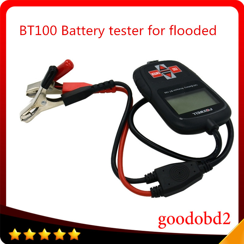 FOXWELL BT100 12V Car Battery Tester for Flooded, AGM, GEL Original BT 100 12 Volt Digital All Cars Data Battery Analyzer hot sale free shipping super foxwell bt 705 battery analyzer foxwell bt705 car battery tester fast express shipping