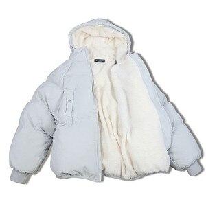Image 1 - Übergroßen Mäntel Winter Jacke Frauen Und Männer Paare Parka Kapuze Lämmer Wolle Jacken Chaquetas Mujer Kurze Baumwolle Winter Mantel C5669