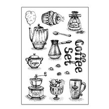 Coffe set silicone transparent Clear Stamps for scrapbook DIY Photo album Rubber Stamps wyf842 scrapbook diy photo album account transparent silicone rubber clear stamps 11x16cm how lovely owl autumn is calling