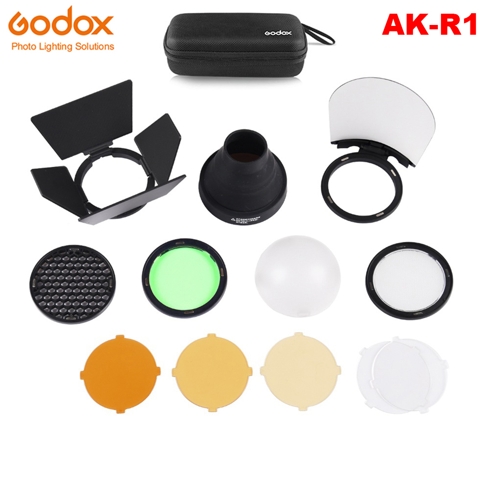 Godox AK-R1 Barn Door Snoot Color Filter Reflector Honeycomb Diffuser Ball Kits For Godox AD200 And H200R Round Flash Head