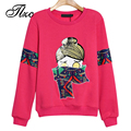 TLZC Cute Lady Pullovers Cartoon Pattern Casual Women Sweatshirts Big Size M-4XL Top Quality Young Lady Hoodies Red / Black