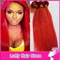 Venta al por mayor Luffy virgen paquetes armadura del pelo peruano recto sedoso rojo extensiones de cabello 100% humano pelo de la trama suave pelo rojo Onsale