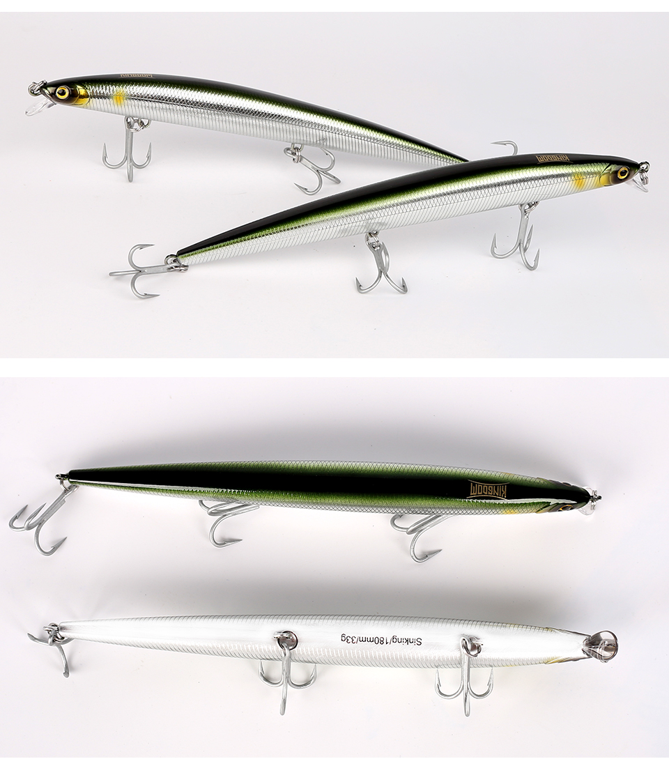 Kingdom Sea Fishing Lure 18cm 29g, 33g Floating And Slow Sinking Minnow Wobblers With VMC Hooks Fishing Tackle Model 5333-S (5)