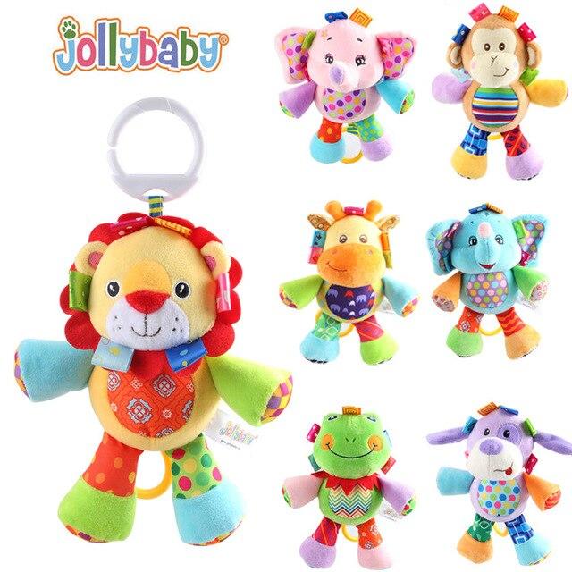 1pcs Jollybaby Multifunctional Baby Toys Animal Plush Toys Rattles Mobiles Soft Cotton Infant Pram Stroller Car Rattles Hanging