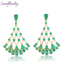 Loverjewelry Luxury Female Fine Jewelry 18K Yellow Gold Earrings Natural VS Emerald Genuine SI Diamonds Women Earrings Jewelry