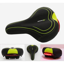Bicycle Saddle with Tail Light Thicken Widen MTB Bike Saddles Soft Comfortable Hollow Cycling