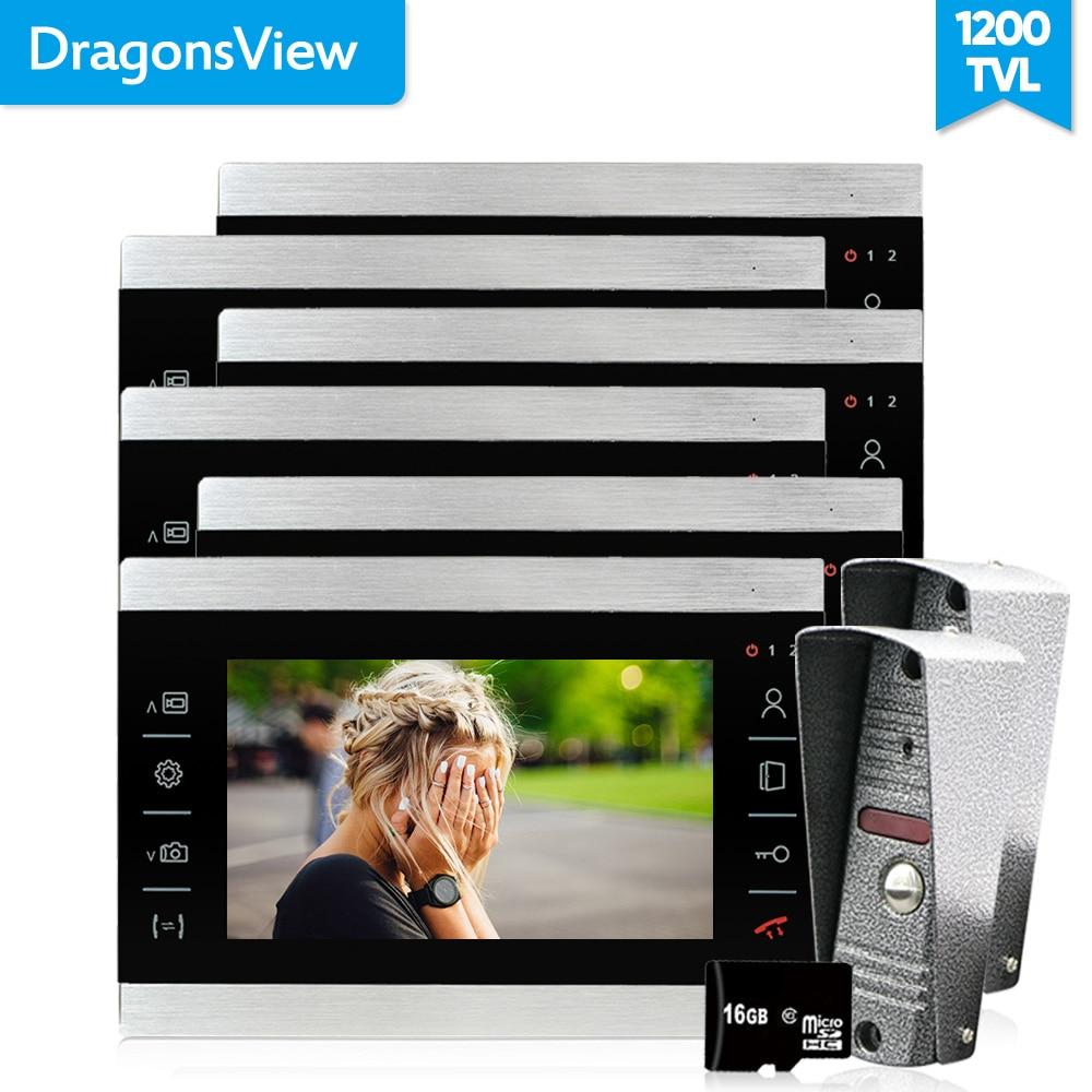 Dragonsview 1200TVL Video DoorPhone Doorbell Intercom System 7 Inch Video Goalkeeper Day Night Vision Recording Motion Detection