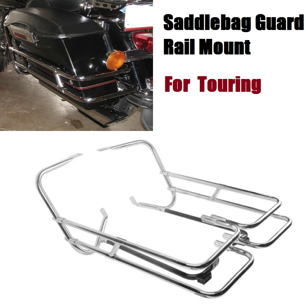 Motorcycle chromed Saddlebag Guard Rail Mount For Harley Touring Road King Electra Street Glide billet saddlebag latch covers w screws for harley electra street tour glide classic fltc road king hard bags 93 13