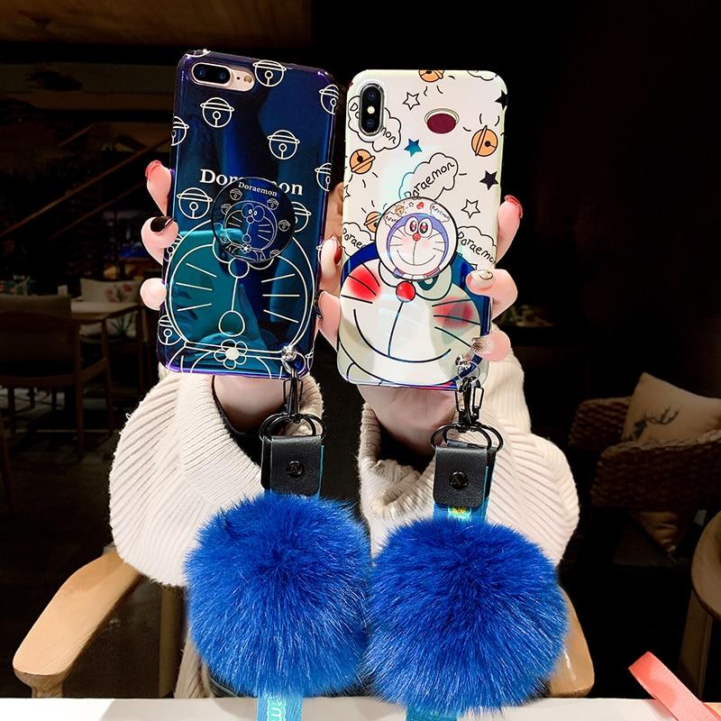 4 piezas para Sam S9plus Doraemon de dibujos animados caso azul Ray espalda suave de la cubierta del teléfono para Samsung Galaxy S8 más S9 Nota 9 Note8 + correa