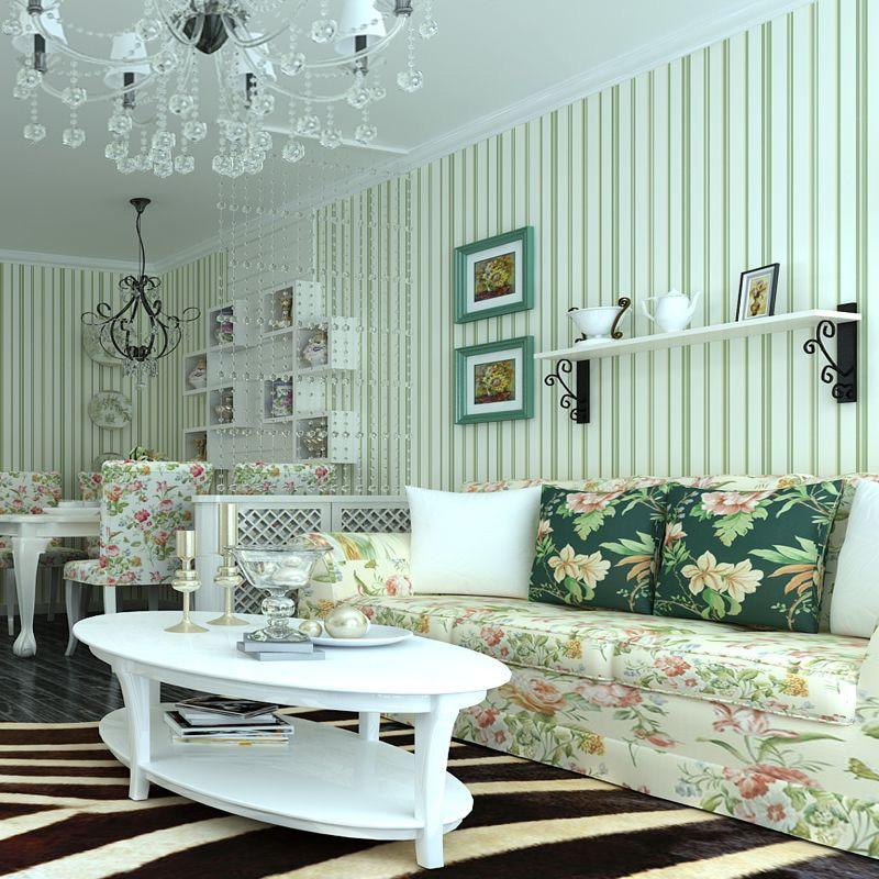 Green Blue Stripe Wallpaper 3D Modern Simple Living Room ...
