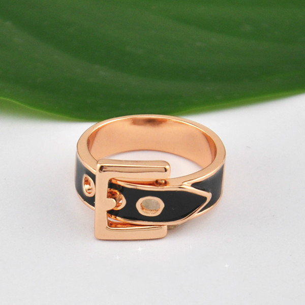 Fashion New Arrivals nice Rose gold Color Glossy belt buckle ring
