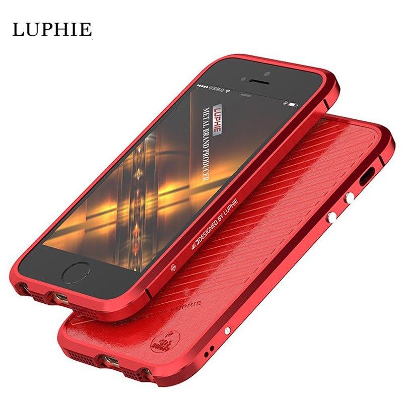 imágenes para Para el iphone se case a prueba de golpes cubierta marco de metal de lujo cubiertas para iphone 5s case aluminio teléfono móvil de protección para la espalda