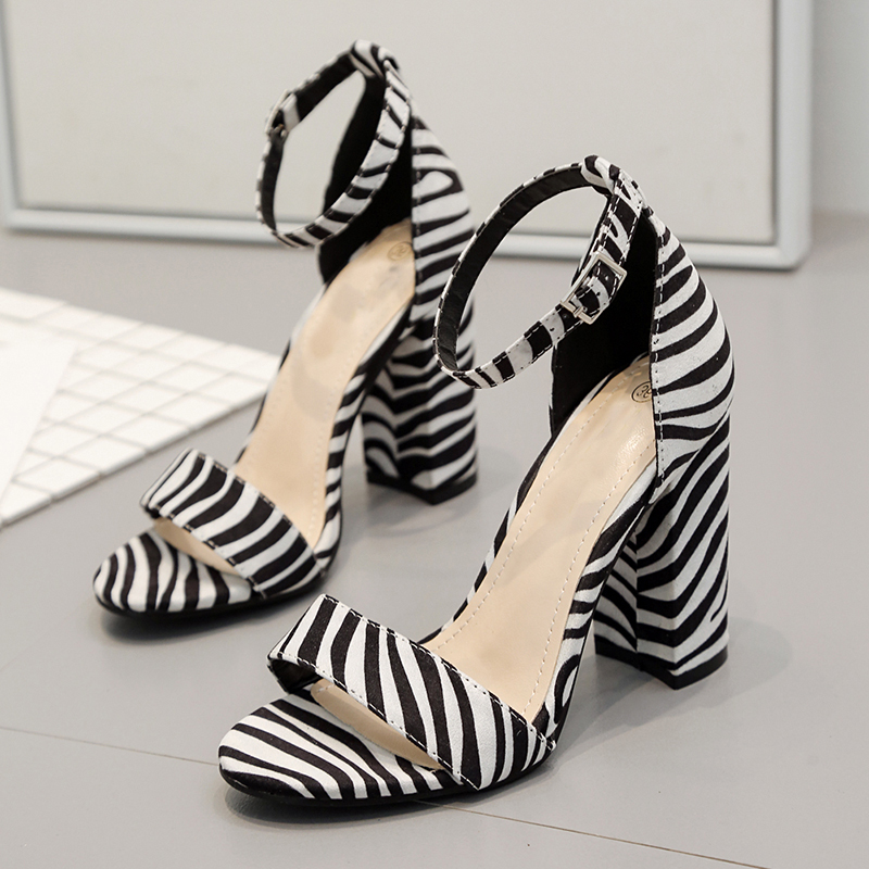 Zebra pattern Spring Women Pumps High Heels For Wedding Chunky Heel Sweet High Heeled Woman shoes Buckle chaussure femme talon in High Heels from Shoes