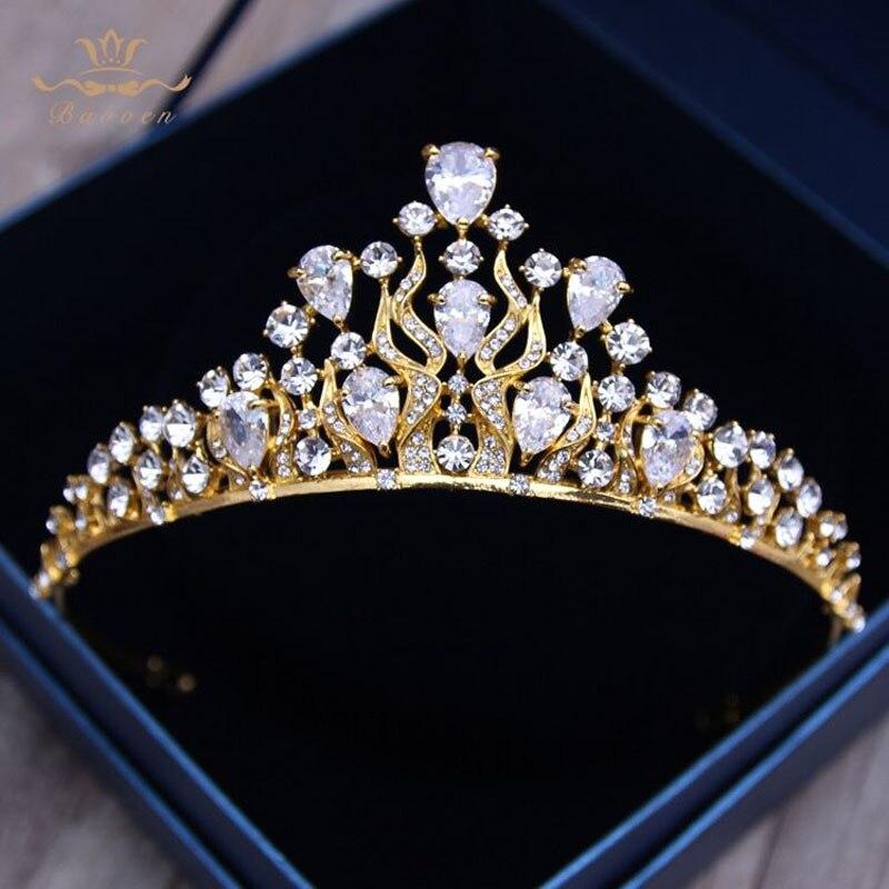 Bavoen European Brides Gold Hairbands Wedding Zircon Crystal font b Tiara b font Headwear Wedding font
