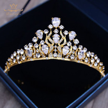 European Gold Hairbands Tiaras for Brides Wedding Zircon Crystal Crowns Headwear Wedding Dresses Hair Accessories Prom