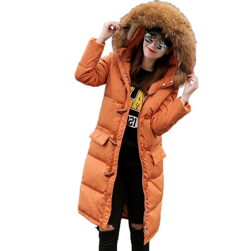 New Winter   Down     Coat   Women Thick Warm   Down   Parka Large Raccoon Fur Collar Hooded Medium Long Horn Button Snow Outwear QH1095