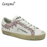CANGMAแบรนด์กีฬารองเท้าผู้หญิงAntumnสีขาวหนังแท้แฟลตสีชมพูประดับด้วย