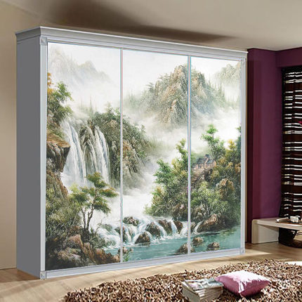 Glass film custom made chinese chinese style tile for Kitchen colors with white cabinets with sliding glass door stickers