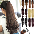 "Woman Ponytail Fashion Hairpiece 18"" 45cm Long Banding Curly Synthetic Hair Lady Ponytails Hairs Extension Girls Pony Tail"