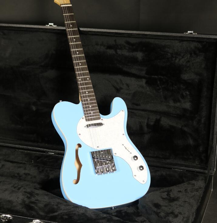 Classique TL guitare électrique F trou Semi creux corps Humbuckers micros pont fixe couleur bleue palissandre touche