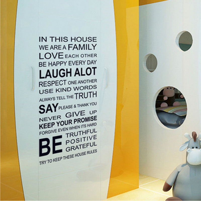 1pcs English Proverbs Wall Sticker Family House Rules Wall Stickers ...