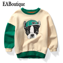 EABoutique Fashion Cartoon Puppy pattern shirts for boys color patch long sleeve Winter sweatshirts for boys