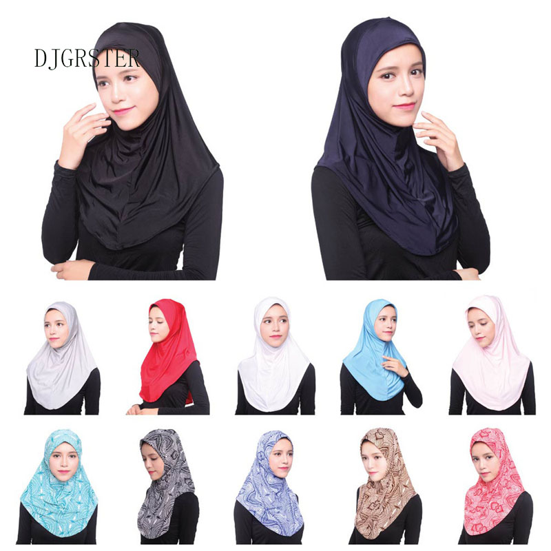DJGRSTER Muslim Hijab Islamic Jersey Turban Women Black Ninja Underscarf Caps Instant Head Scarf Full Cover Inner Coverings