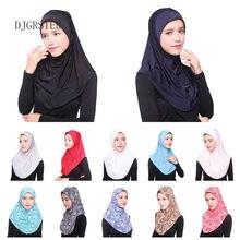 DJGRSTER мусульманский хиджаб, мусульманский тюрбан-Джерси, женский черный хиджаб ниндзя, головной платок, полное покрытие, внутренняя накидка