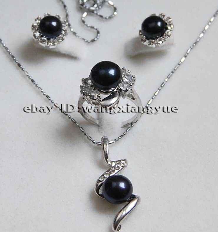 ของแท้สีดำ Akoya pearl ต่างหู/แหวน/สร้อยคอจี้ชุด AAA หยก