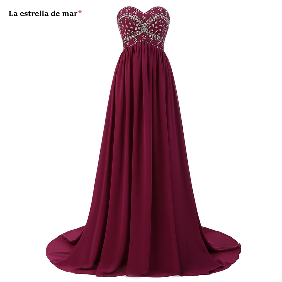 Robe Demoiselle D'honneur Pour Femme 2019 New Chiffon Crystal Off The Shoulder A Line Burgundy Bridesmaid Dresses Long Plus Size