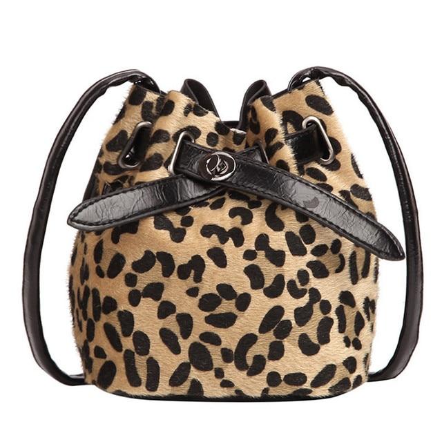 Women Shoulder Bag Bucket Plush Leopard Print Messenger Crossbody Bag  Bucket Bags Female Flock PU Handbags Travel Pouch-in Shoulder Bags from  Luggage   Bags ... 91ee7a46560e