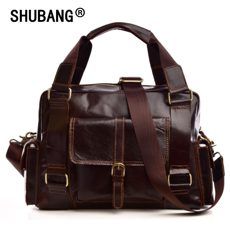 Brand Business Men Briefcase Genuine Leather Laptop Handbag Casual Man Crossbody Bag Fashion Shoulder Bags Messenger Bag 818-25 genuine leather men bags messenger bag leather man shoulder crossbody mens bag business laptop briefcase men handbag laptop bags