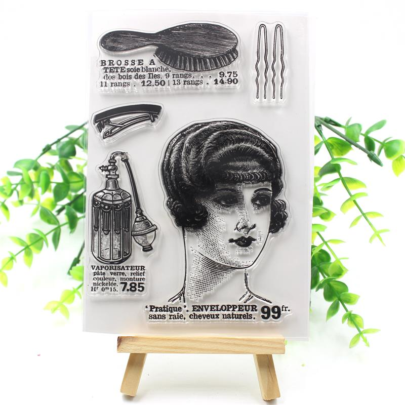 YPP CRAFT Retro Woman Transparent Clear Silicone Stamps for DIY Scrapbooking/Card Making/Kids Fun Decoration Supplies