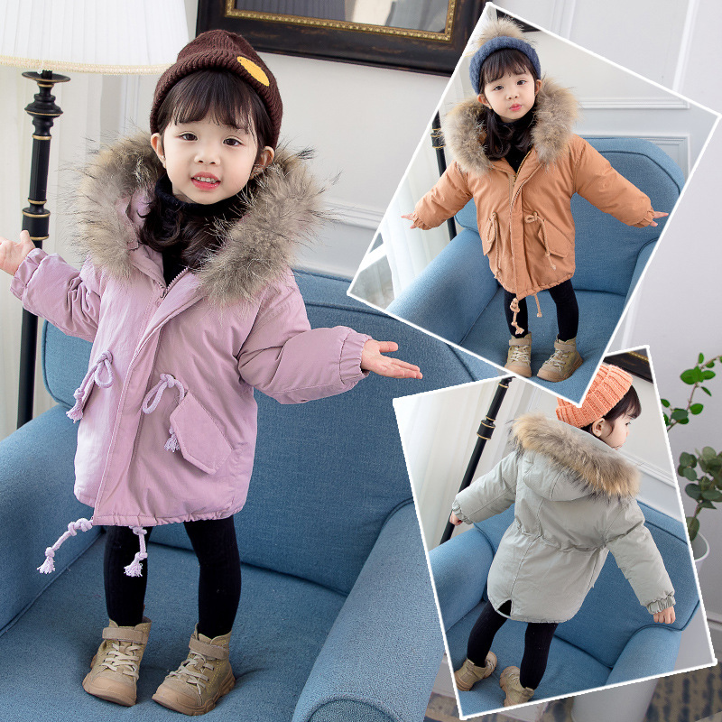 Winter Girls Coat Jacket Fur Hooded Warm Plus Thick Childrens Cotton-Padded Coat Zipper Big Pocket Girls Clothes Outwear 1-6YWinter Girls Coat Jacket Fur Hooded Warm Plus Thick Childrens Cotton-Padded Coat Zipper Big Pocket Girls Clothes Outwear 1-6Y