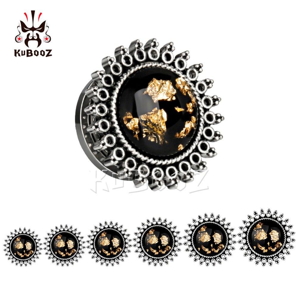 KUBOOZ Piercing screw back ear plugs piercing body jewelry ear tunnels stainless steel silver gauges wholesale