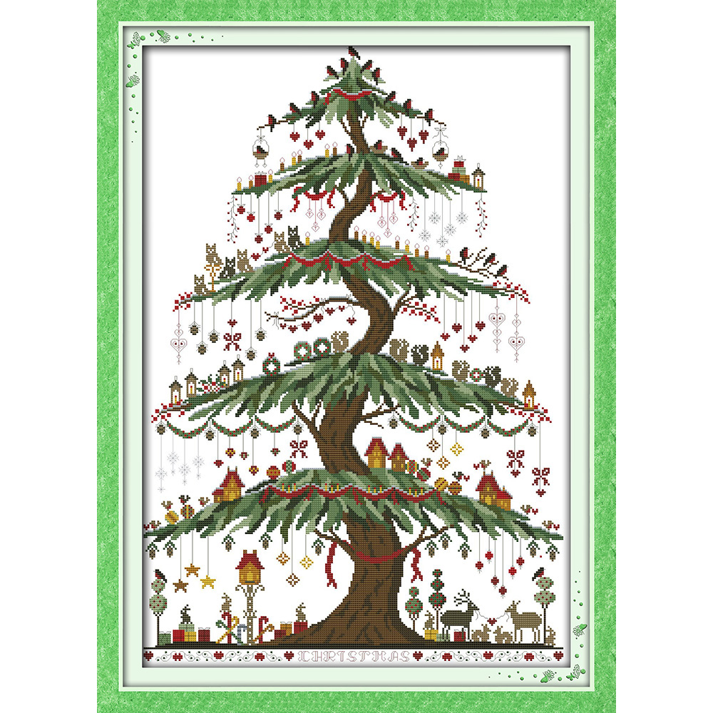 Everlasting love Christmas tree (2) Ecological cotton Chinese cross stitch kits counted stamped 14 CT 11 CT new sales promotion