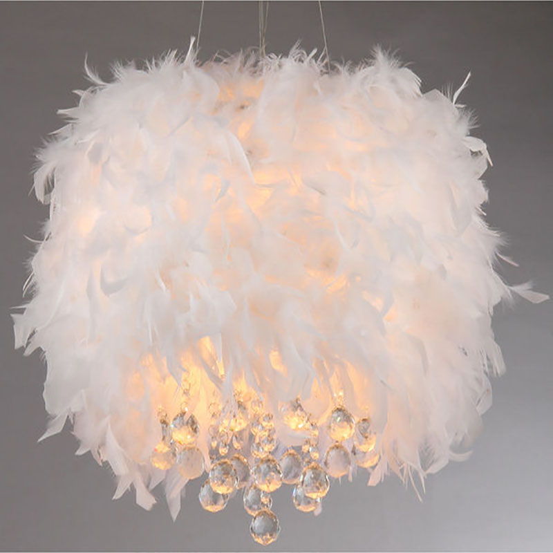 Fluffy feathers crystal 3 light girls room pendant chrome white fluffy feathers crystal 3 light girls room pendant chrome white ceiling chandelier lighting fixture for dining room restaurant in pendant lights from lights aloadofball Images