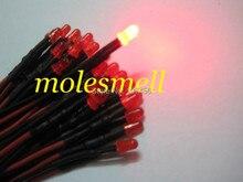100 pièces 3mm 12v diffus rouge 12V DC rouge lentille 20cm précâblé lumière LED bricolage livraison gratuite