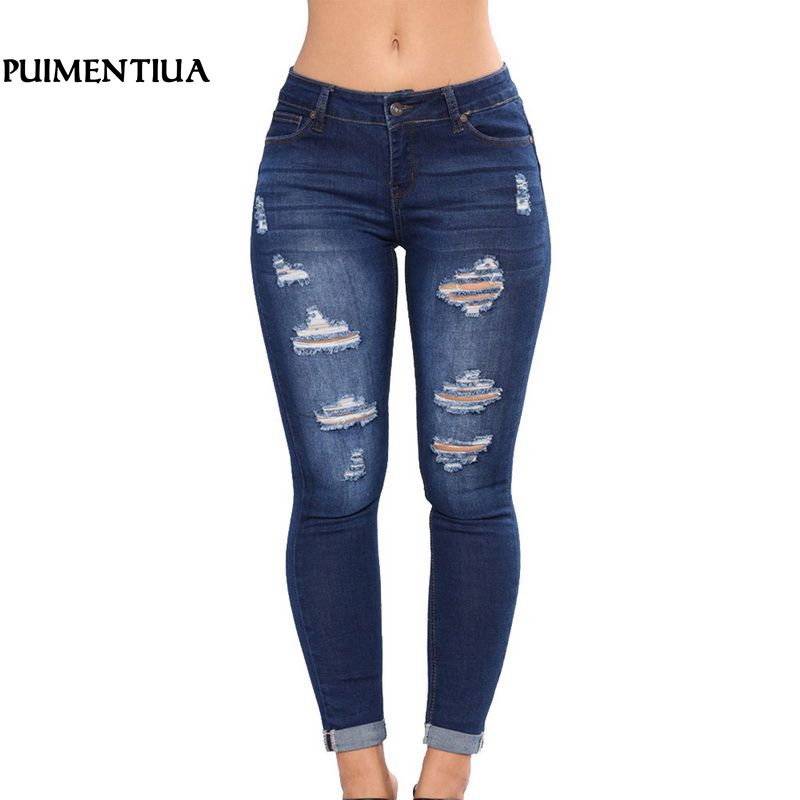 Puimentiua 2019 Women High Waist Casual Denim JeansSlim Plus Size Ripped Hole Long Jeans Denim Regular Pants Women Mom Jeans(China)