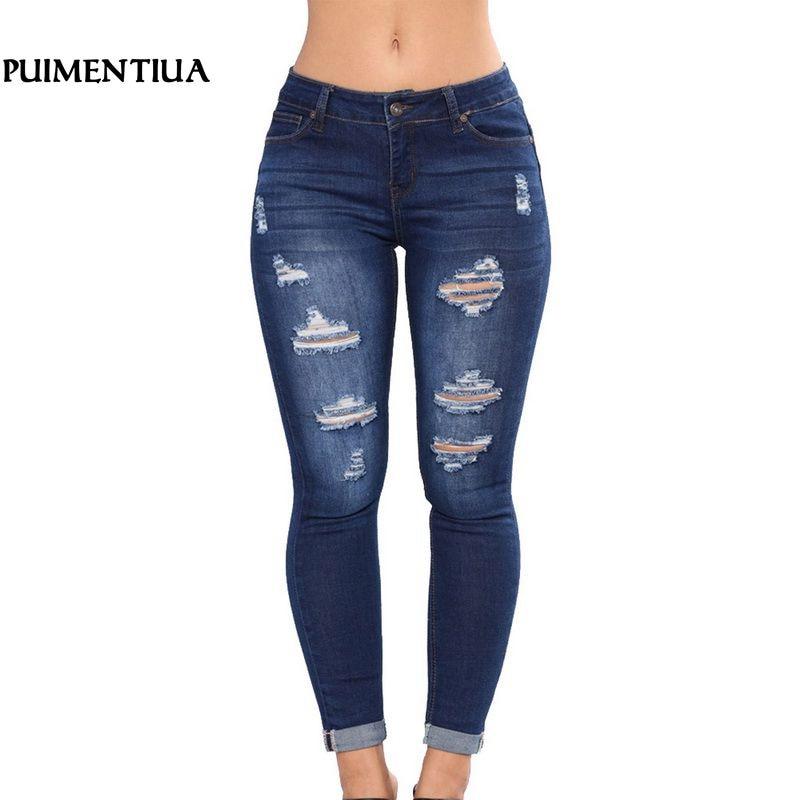 Puimentiua 2019 Women High Waist Casual Denim JeansSlim Plus Size Ripped Hole Long Jeans Denim Regular Pants Women Mom Jeans