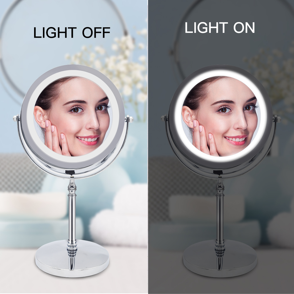 10X Magnifying Makeup Mirror With LED Light Cosmetic Mirrors Round Shape Desktop Vanity Mirror Double Sided Backlit Mirrors 3