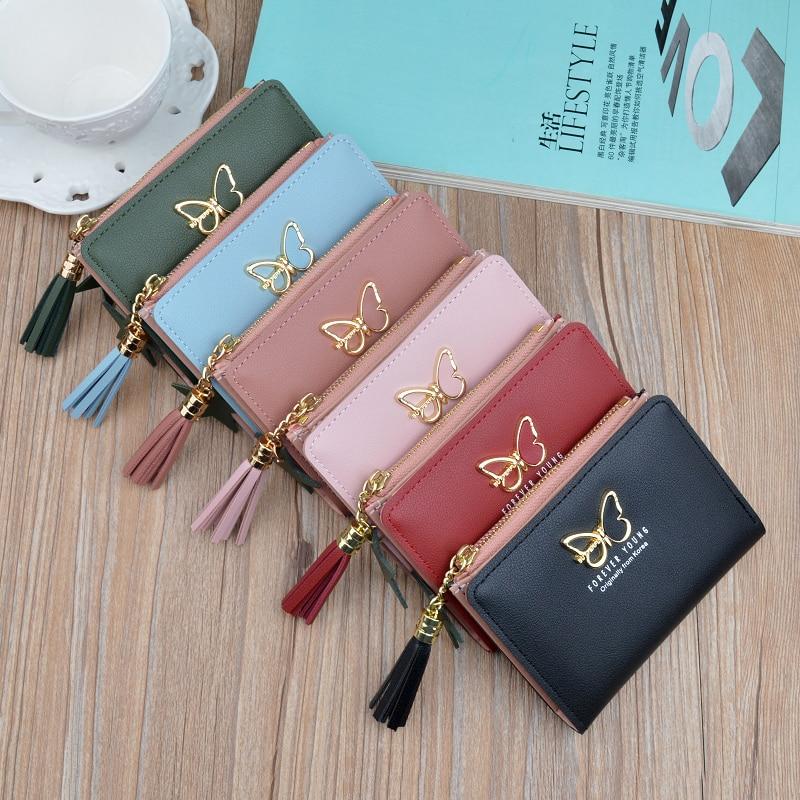 ef779560b180 Кошелек с кисточкой женские монеты милый кошелек Для женщин маленькие  кожаные Для женщин кошельки молнии Кошельки