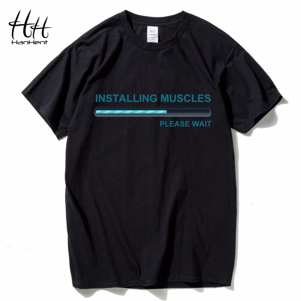 HanHent telepítése izmok póló Camiseta férfiak pamut rövid ujjú testépítő ing Fitness ruházat felső póló férfi vicces
