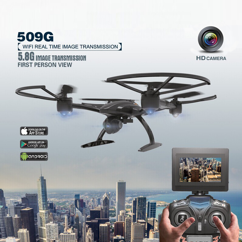 JXD 509G 5.8G FPV Set High Hold Mode RC Quadcopter with 2.0MP HD Camera 6Axis Helicopter Drone Monitor RTF Rc Toy As Funny Gift 2016 newest 2 4g 4ch 6 axis gyro wifi fpv camera rtf rc quadcopter with one key return cf mode 3d flip high hold mode rc drone