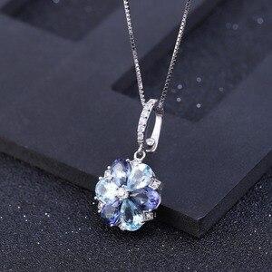 Image 2 - GEMS bale doğal mistik kuvars Sky Blue Topaz taş 925 ayar gümüş çiçek kolye kolye kadınlar için güzel takı
